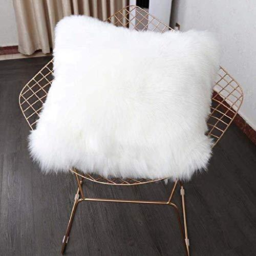 KAIHONG throwing Sheepskin Sheepskin Artificial Fur Pillow Case (45x45cm) (White, 45 x 45cm)