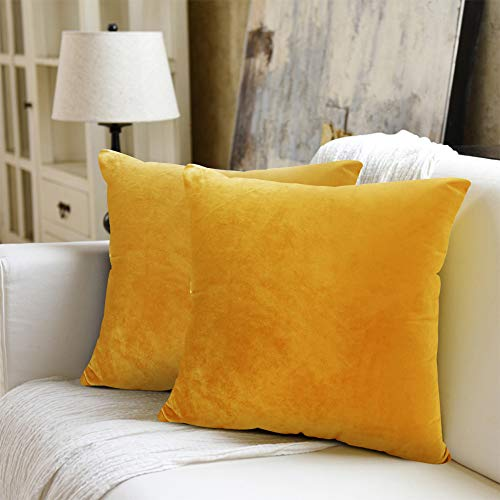 WEYON Set of 2 Decorative Velvet Cushion Covers with Sturdy Concealed Zip for Sofa, Bedroom or Car, Velvet, Lemon Yellow, 40 x 40 cm