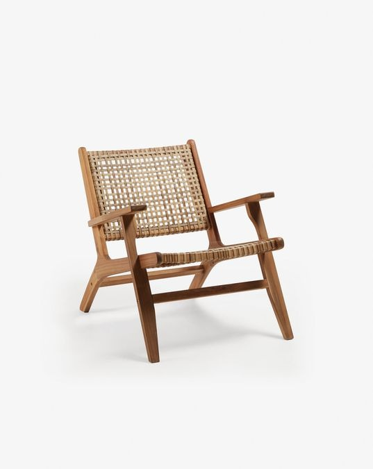 Grignoon Armchair in Solid Acacia Wood and Synthetic Braided Rattan