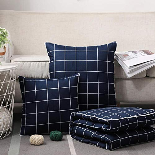 WTMLK 2 in 1 Throw Pillow Quilt Blanket Cotton Folding Cushion Striped Plaid Home Office Car Pillow Cushion Back Cushion, Navy Blue, Small Grid, 50x50cm