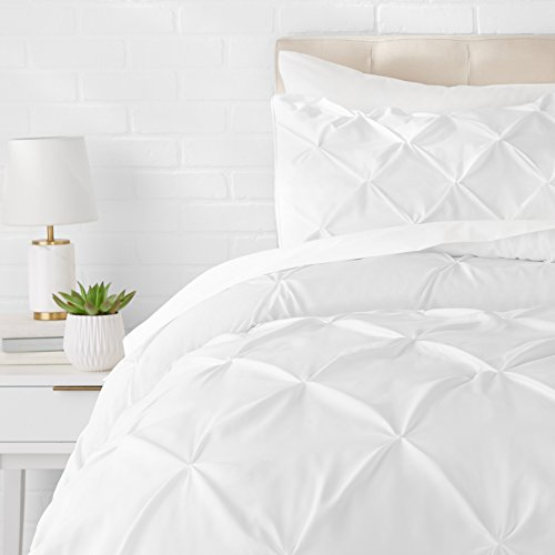 AmazonBasics Pinch Ruched Bedspread Bedding Set, 260 x 240cm, White