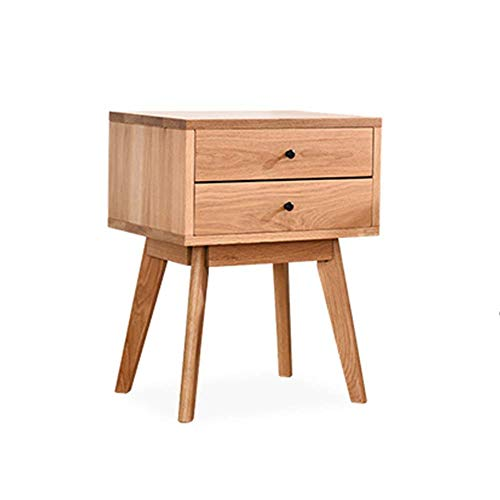 Kutera Bedside Table All Solid Wood Simple Modern Bedroom Bedside Cabinet Double Drawer Storage Multifunction Economy And Environmental Protection Furniture Wood Color