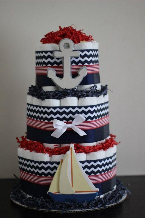blue and white diaper cake
