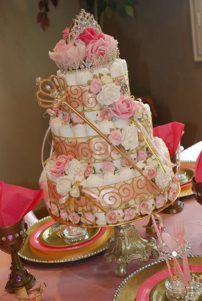 brown and blue diaper cake