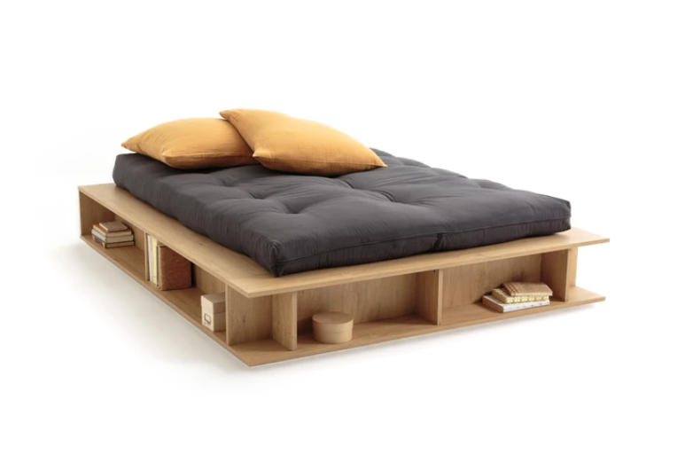 Bed with spaces for organization and semi-lifting Presto bed base