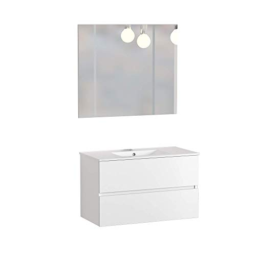 Baikal 830134019 Bathroom Furniture Set suspended to the Wall, with Basin and Mirror, Two drawers, 16 Melamine, Matte White Color, Cm, 100 X 55 X 46 cm