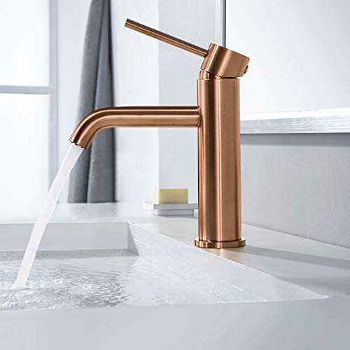 Synlyn Bathroom Faucet Rose Gold Sink Faucet Tall Single Handle Sink Mixer Tap Bathroom Faucet Single Lever Mixer - Modern Style