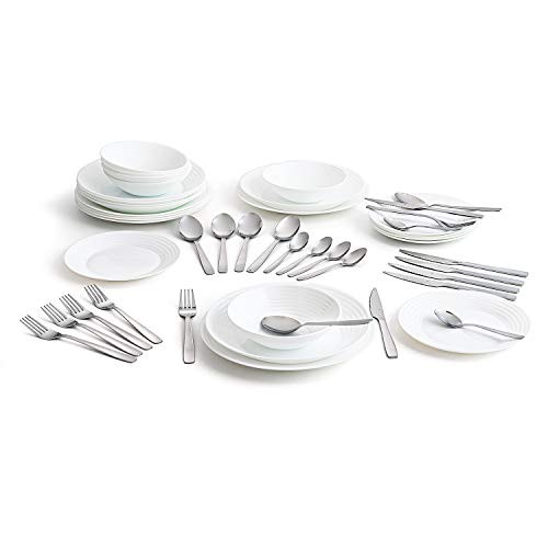 Luminarc Complete White Dinnerware for 6 People Cutlery 24 Amefa, Opal Glass, 25 Pieces