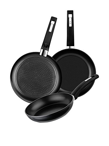 BRA Set of 3 forged aluminum pans with non-stick, 18-22-26 cm, suitable for all types of cookers including induction and ceramic hob