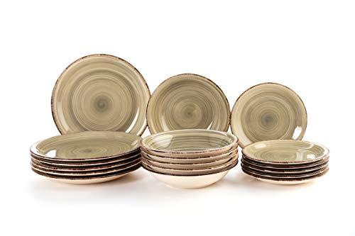Quid Complete Modern Porcelain Dinnerware for 6 People (18 Pieces) Plain, deep, Dessert Plates, Stoneware, Pearl Gray