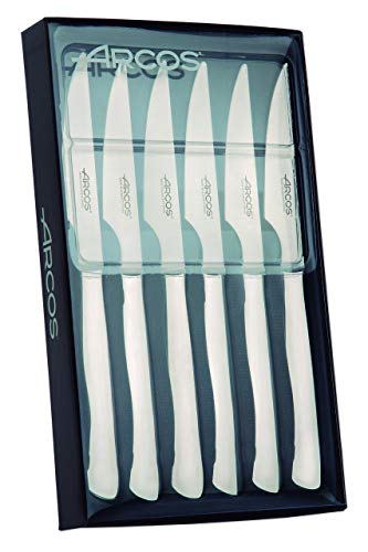 Arcos Series Table Knives - Set 6 Units Steak Knife - 110 mm Stainless Steel Edge Blade - Silver Color Stainless Steel Monoblock Knife