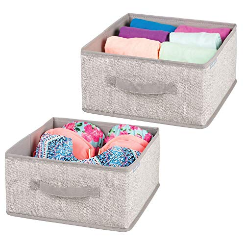 mDesign Set of 2 Organizer Boxes to Tidy Closets - Organizers for wardrobes in polypropylene with rope aesthetic - Fabric boxes for storing clothes, accessories and more - beige