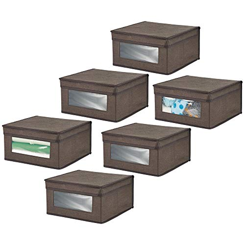 mDesign Cloth Organizer Box Set of 6 - Stackable Storage Box for Sorting Closets, Shoes or Clothes - Closet Organizer with Lid and Window - Dark Brown