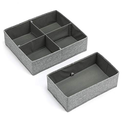 MaidMAX Drawer Organizers, Underwear Organizers, Closet Sorting Boxes Drawers, for Underwear, Baby Clothes, Underpants, Socks etc, Gray