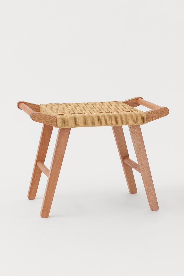 Stool with straw seat