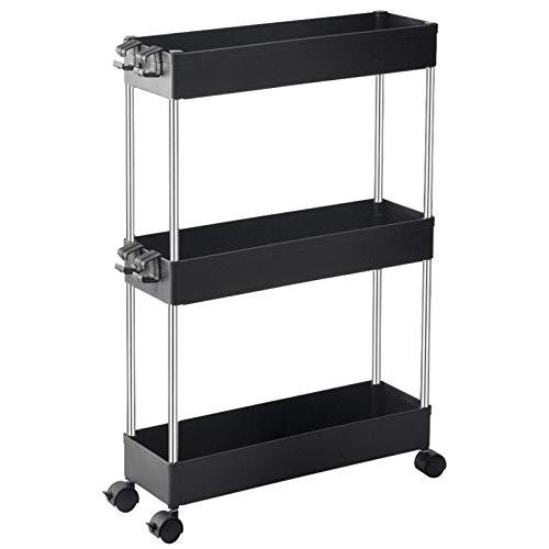 SPACEKEEPER 3 Tier Storage Cart, Slim, Mobile, Shelf Organizer, Slide-out, Rolling, Utility, Kitchen Shelf, Bathroom, Laundry, Office, Narrow Places, Black