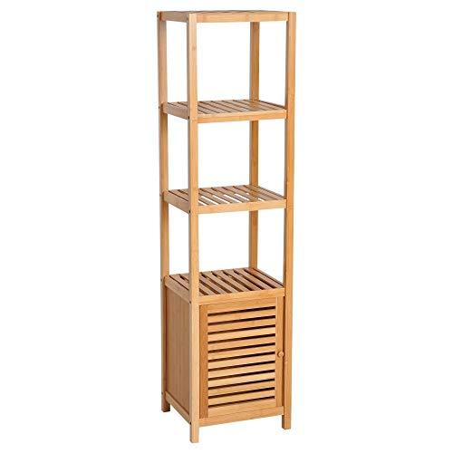 HOMCOM Bamboo Shelf for Bathroom Tall Cabinet Bookcase Organizer 4 Levels 1 Door 36x33x140cm