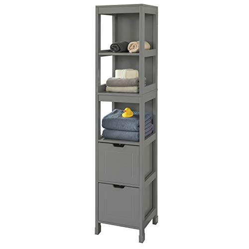 SoBuy FRG126-SG Cabinet Bathroom column Bathroom cabinet-3 shelves and 2 Drawers ES (Dark Gray)