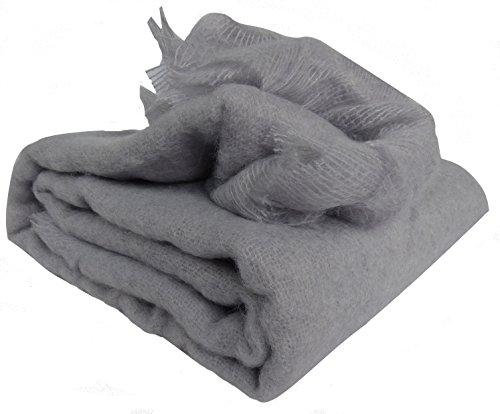 Ourson Extra Sweet Throw, 100% Mohair Wool, 100% Mohair, U3 Gray, 130 x 180