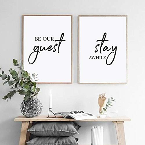 XRKITGD Be Our Guest Stay Awhile Posters and Prints on Canvas Guest Room Decoration Inspirational Art Painting Pictures Decoration 40x60cmx2 No Frame