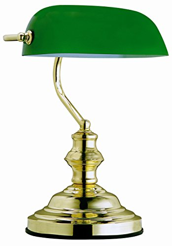 GLOBO table lamp antique green bankers lamp 1x60W