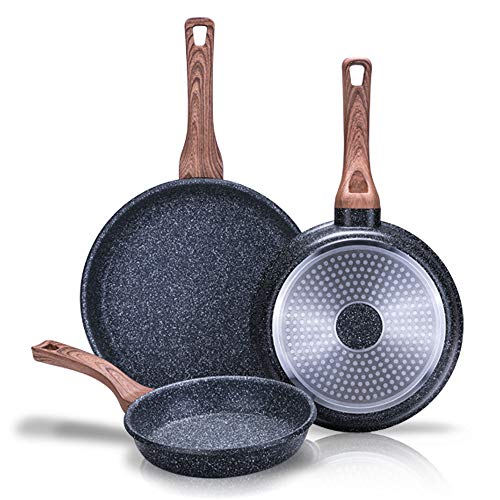 NEWCHEF - Set of Non-Stick FOLK Pans 3pz.  (20,24,28Ø cm) of Aluminum, suitable for Induction and Vitroceramic.  Set of Non-Drip Pans with Ergonomic Handle, Easy to Clean and Free PFOA