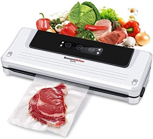 Bonsenkitchen 4 in 1 Vacuum Sealer for Home and Commercial Use, Vacuum Machine for Dry and Wet Food, Including Vacuum Roll 20 x 300cm and 5 Bags, VS3750