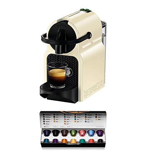 Nespresso De'Longhi Inissia EN80.CW - Nespresso capsule pod coffee machine, 19 bars, automatic shut-off, cream color, Includes welcome pack with 14 capsules