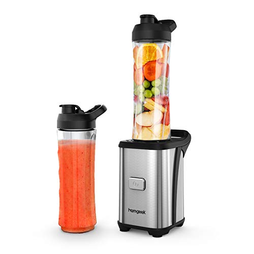 homgeek Single Glass Blender, 350W Portable Blender for Smoothies, Fruits and Vegetables, Includes 2 600 ml Bottles, Stainless Steel Body, Single Button Operation, BPA Free, Silver