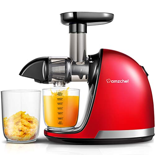Cold Pressed Blender, AMZCHEF Fruit Vegetable Blender , Juice Extractor with Reverse Function, Silent Motor, easy to clean with an extra brush