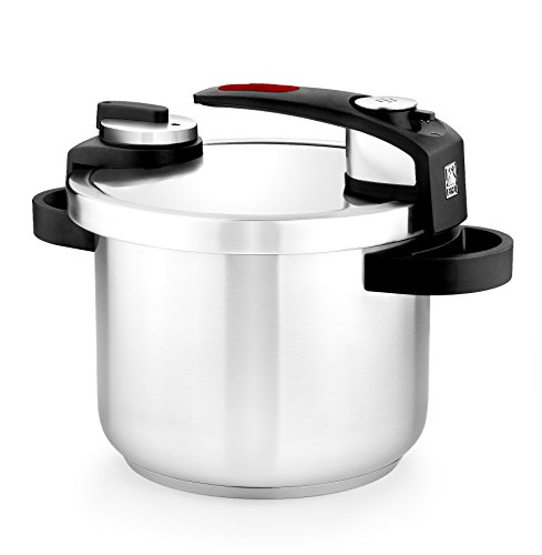 BRA Tekna - 6 liter pressure cooker, stainless steel, suitable for all types of cookers, including induction, gray