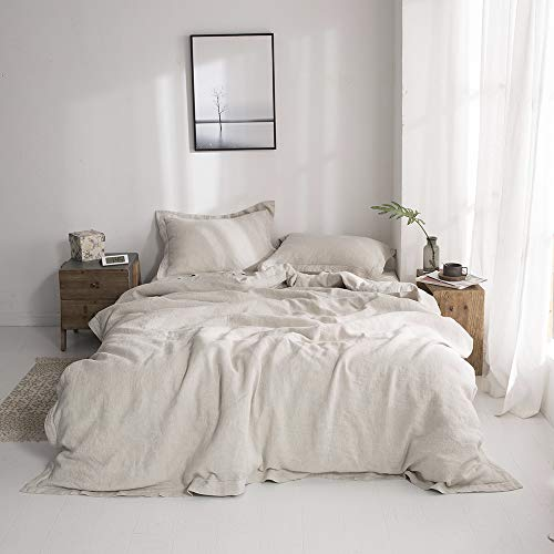 Simple & Opulence 100% Linen Stone Washed Solid Embroidered 3 Piece Duvet Cover Set Includes 1 Duvet Cover and 2 Pillowcases (King 230cm x 220cm, Natural Linen)