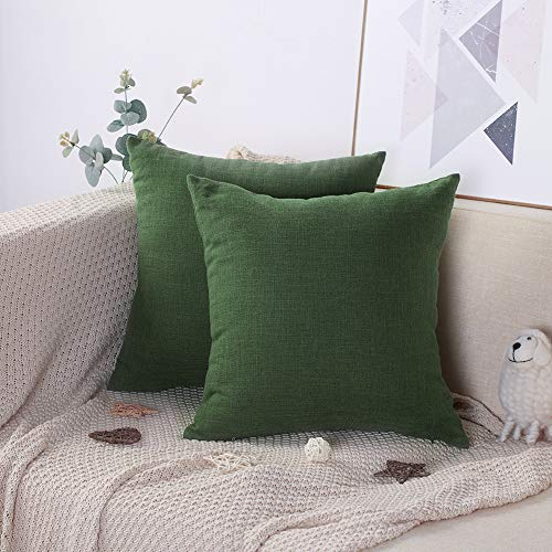 Artscope Set of 2, Solid Color Soft Linen Cotton Cushion Cover, Square Pillowcase for Sofa Bed Car Home Decor 45x45cm (Dark Green)