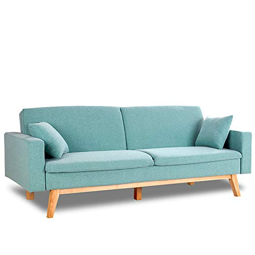 Don Descanso, Reine 3 Seater Sofa Bed, Upholstered in Fabric, Mint Green Color, Book Opening System or Click-clack, Sofa size: 206x74x83 cm, Bed size: 206x99x83 cm, Includes 2 Cushions