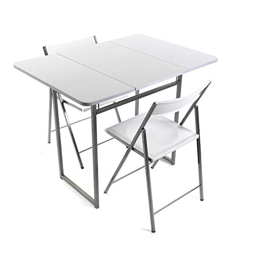 Versa 19840050 Folding Table with Two Brenna chairs with Backrest for Kitchen, Dining Room, balcony or terrace in White Metal, PVC and Wood, 100 x 70 x 80 cm