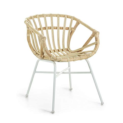 Kave Home - Kaly Rattan Dining Chair with Armrests and Steel Legs in White