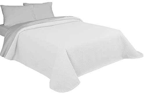 NORA HOME Piqué Bedspread Jacquard Squares in White or Linen.  All Measurements (White, 250x260 (150/160 Bed))