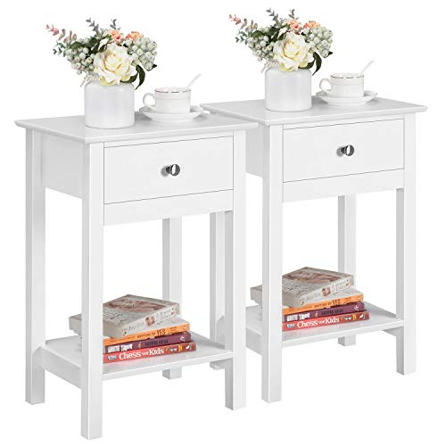 Yaheetech 2 Pieces Bedside Table White Side Table with Drawer Wardrobe Bedside Table for Bedroom 40x30x60 cm