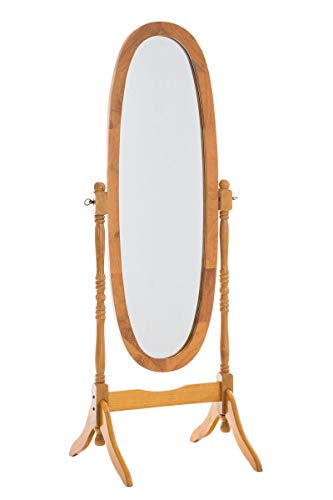 CLP Classic Wood Standing Mirror Cora |  Oval Full Length Country Style Mirror I Tilting Mirror Size: 150 x 60 cm |  Color: Oak Wood