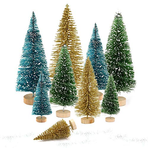 9 pieces of Christmas tree, mini Christmas tree, Christmas tree, mini Christmas tree, green color, artificial mini Christmas tree, small Christmas tree (gold, green and blue)
