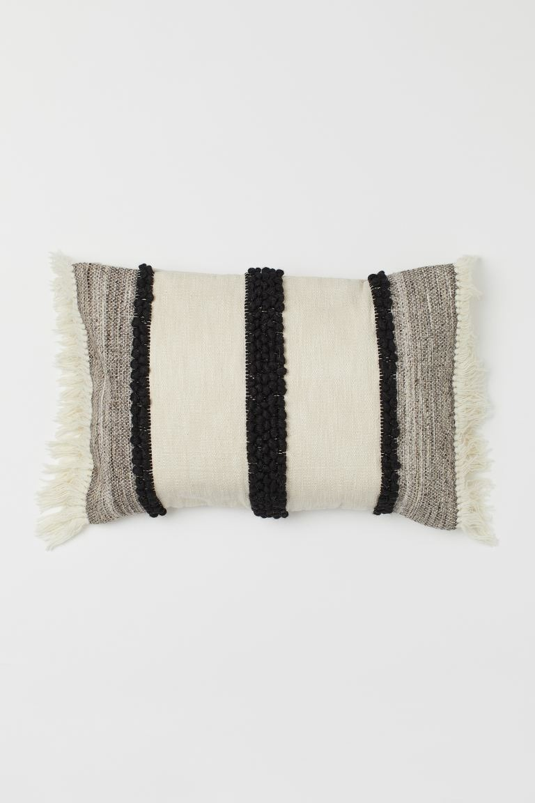 Textured wool and cotton blend rectangular cushion cover