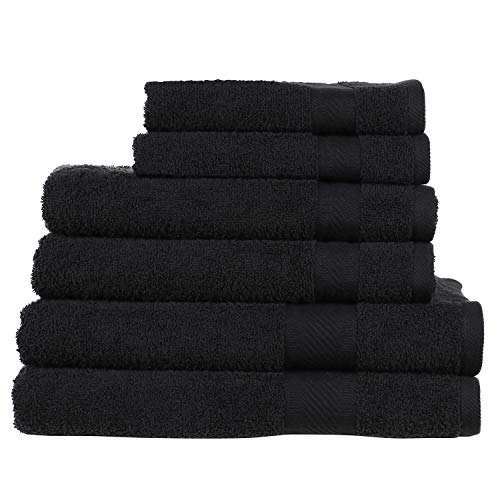 SweetNeedle - Daily Use 6 Piece Towel Set, Black - 2 Bath Towels 70x140 CM, 2 Hand Towels 50x90 CM, 2 Wash Cloths 30x30 CM - 100% Cotton Ringings, Heavy Weight and Absorbent