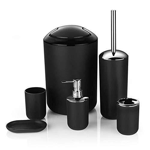 YYEWA 6 Pieces Bathroom Accessories Set, Trash Can, Soap Dish, Soap Dispenser, Cup, Toothbrush Cup and Brush, Black, setof6