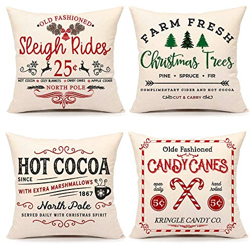 4TH Emotion Set of 4 18 x 18 Inch Sofa Cushion Covers, Rustic Christmas Design