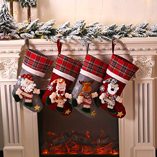 Galapara Christmas Stockings, Set of 4 Christmas Socks Decoration Gift Snowman Embroidery Mini Boots Pocket Red Plush Tartan Sock for Candy Year Presents