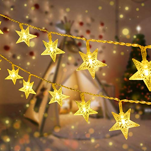 VIFLYKOO Garland Lights Christmas LED Indoor Outdoor Star Christmas String Lights, 8 Patterns, for Bedroom, Yard, Yard, Wedding, Party, 10 meters 100 LEDs - Warm White