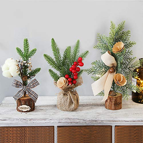 Mini Christmas Tree, 3 PCS Christmas Tabletop Tree Artificial Christmas Tree with Ornaments Pine Cone, Bowknot and Red Berries Christmas Decoration for Christmas Table and Desk Decorations