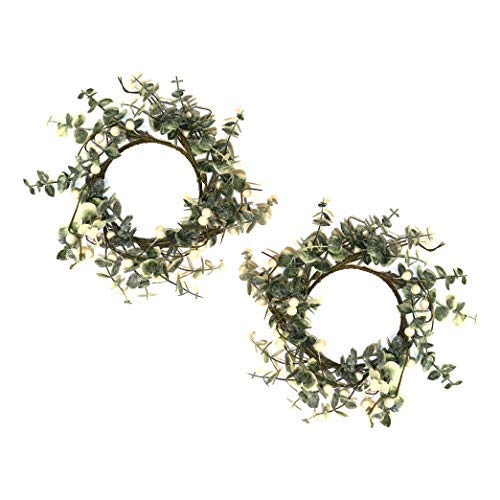 by Robelli - Set of 2 Small Christmas Wreaths for Hanging, White Berries and Leaves Design (25cm)