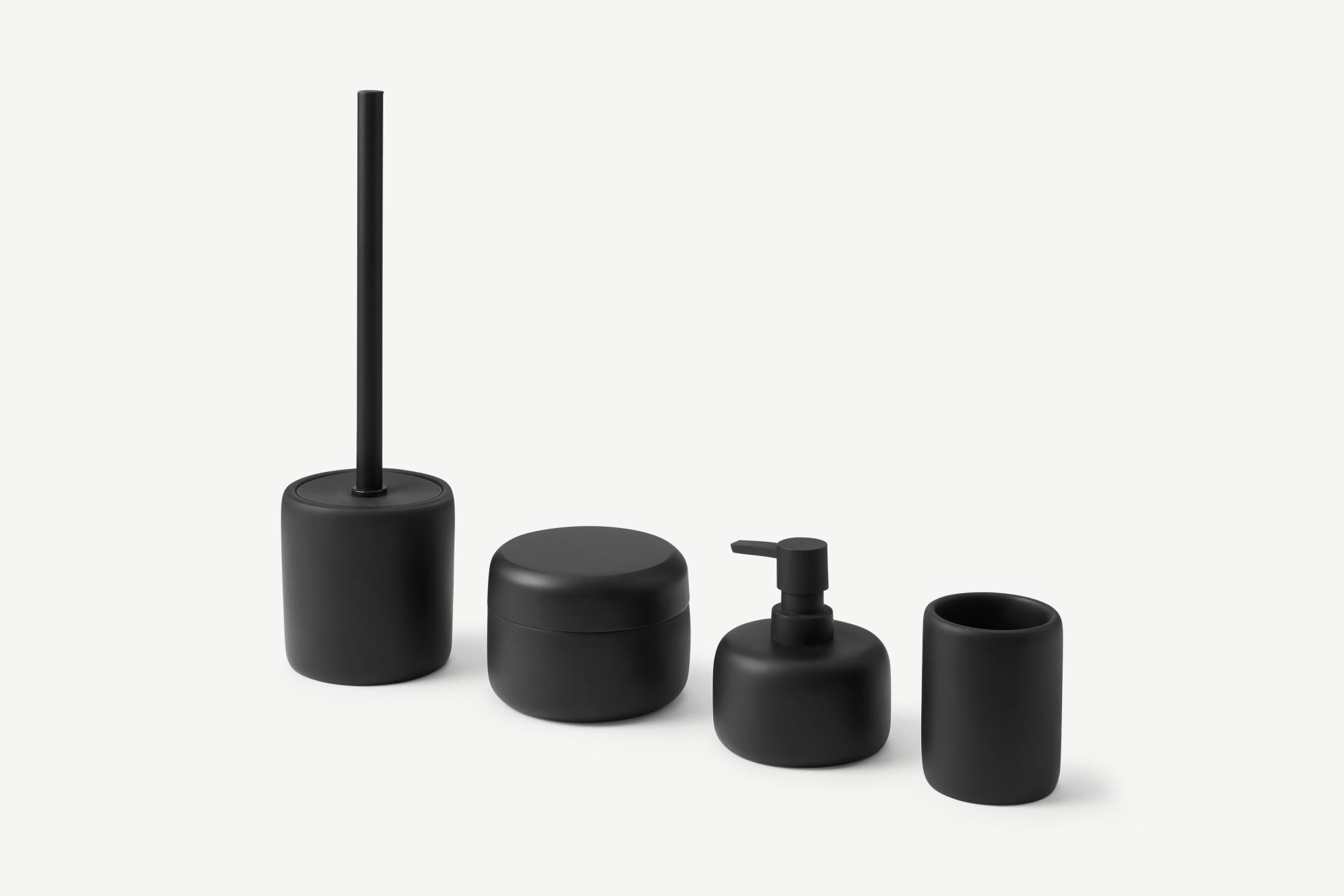4-Piece Round Bathroom Set with Amari Brush, Matte Black