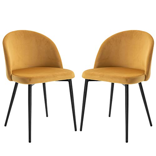 HOMCOM Set of 2 Dining Chairs with Padded Seat and Back with Soft Velvet Cover and Modern Design Load 120 kg 49x50x77 cm Camel